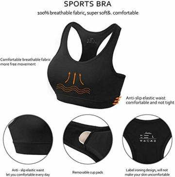 HBselect 3stk Sport BH Bustier Damen Bralette Nathloser mit Polstern Sportbekleidung ohne Bügel atmungsaktiv Joggen Yoga Jumping Fitness - 6