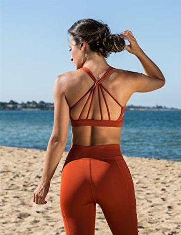icyzone Yoga Sport-BH Damen Bustier mit Gepolstert - Atmungsaktiv Ohne Bügel Sports Bra Top (S, Persimmon) - 2