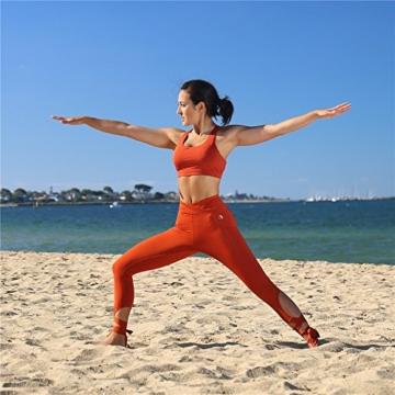 icyzone Yoga Sport-BH Damen Bustier mit Gepolstert - Atmungsaktiv Ohne Bügel Sports Bra Top (S, Persimmon) - 3