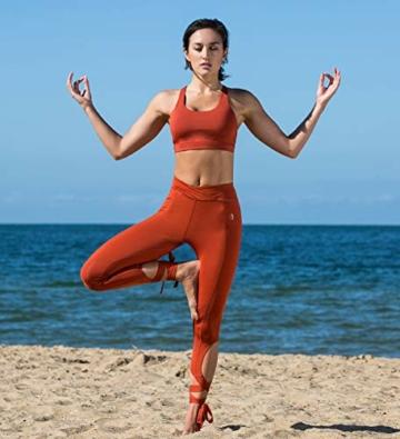 icyzone Yoga Sport-BH Damen Bustier mit Gepolstert - Atmungsaktiv Ohne Bügel Sports Bra Top (S, Persimmon) - 4