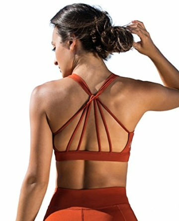 icyzone Yoga Sport-BH Damen Bustier mit Gepolstert - Atmungsaktiv Ohne Bügel Sports Bra Top (S, Persimmon) - 1