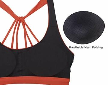 icyzone Yoga Sport-BH Damen Bustier mit Gepolstert - Atmungsaktiv Ohne Bügel Sports Bra Top (S, Persimmon) - 5