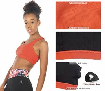icyzone Yoga Sport-BH Damen Bustier mit Gepolstert - Atmungsaktiv Ohne Bügel Sports Bra Top (S, Persimmon) - 7