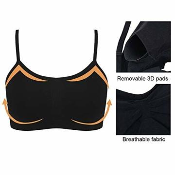 Vertvie Womens Strech Duenn Ohne Buegel Push up Yoga Sports BH Bra Top Set Fuer Fitnesstraining Polsterung 2er/3er Pack (Größe S/Etiketten M, 3 Schwarz) - 4