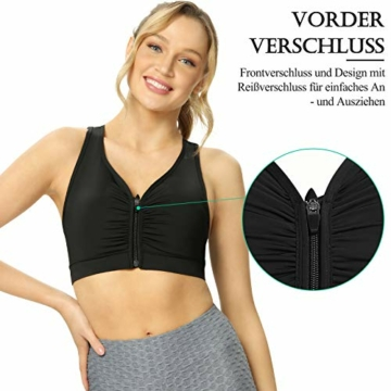 Yobenki Sport BHS Damen Push Up Starker Halt Große Größe Gepolstert BH Vorderverschluss Ohne Bügel für Fitness Laufen Yoga M - 3