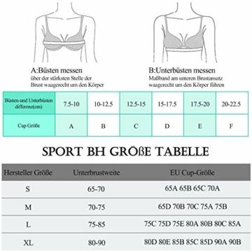 Yobenki Sport BHS Damen Push Up Starker Halt Große Größe Gepolstert BH Vorderverschluss Ohne Bügel für Fitness Laufen Yoga M - 4