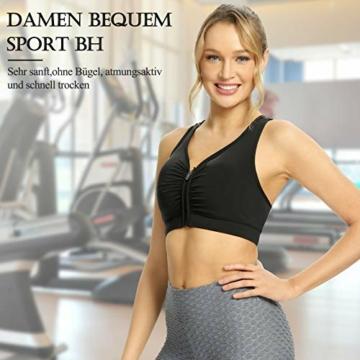 Yobenki Sport BHS Damen Push Up Starker Halt Große Größe Gepolstert BH Vorderverschluss Ohne Bügel für Fitness Laufen Yoga M - 5