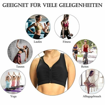 Yobenki Sport BHS Damen Push Up Starker Halt Große Größe Gepolstert BH Vorderverschluss Ohne Bügel für Fitness Laufen Yoga M - 7